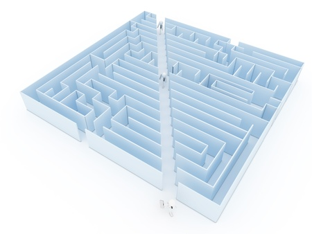 shortcut: Leadership and business vision with strategy in corporate challenges and obstacles in a maze with men in a labyrinth with a clear solution shortcut path for success.  Stock Photo
