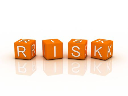 Risk Blocks, orange color on white background photo
