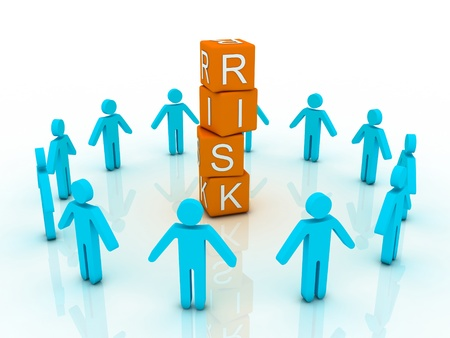 crisis management: word risk showing business investment or finance concept  Stock Photo