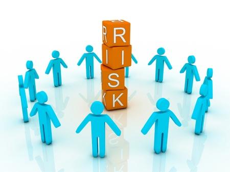 wirtschaftskrise: Wort Risiko zeigt Unternehmensinvestitionen oder Finanz-Konzept