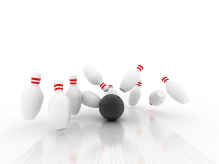 3d Bowling Ball crashing into the pins  photo