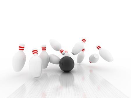 3d Bowling Ball crashing into the pins Stock Photo - 12071744