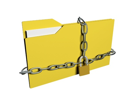 Computer data security concept. Computer folder with with chain and padlock. Stock Photo - 12071749