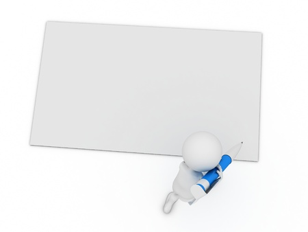 little 3d character write a card with big pen isolated on white