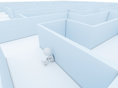 navigating: A person stuck in a maze trying to think of a way out