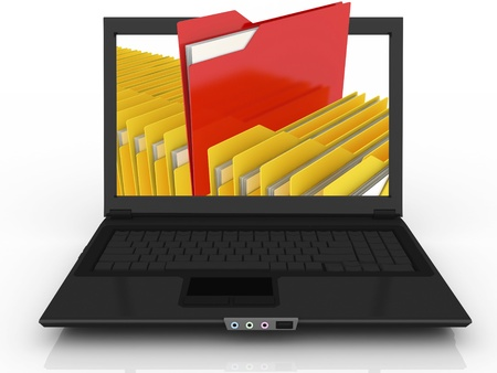 Abstract laptop and files (done in 3d) Stock Photo - 12071755