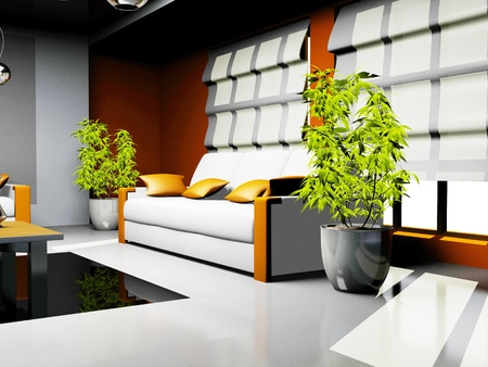 waiting room with orange and white leather furniture  photo
