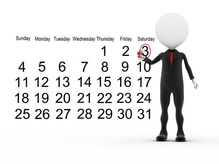 3d businessman with busy calendar schedule  photo