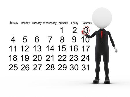 day calendar: 3d businessman with busy calendar schedule  Stock Photo