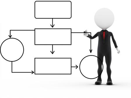diagrama de flujo: 3d negocio exitoso trabajo hombre muy ocupado Foto de archivo