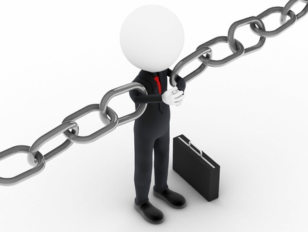 3d businessman holding a chain together