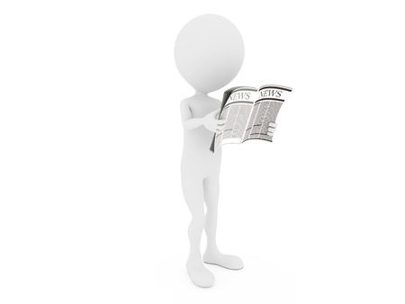 News. 3D little human character Reading a News Paper.  Stock Photo - 12222155