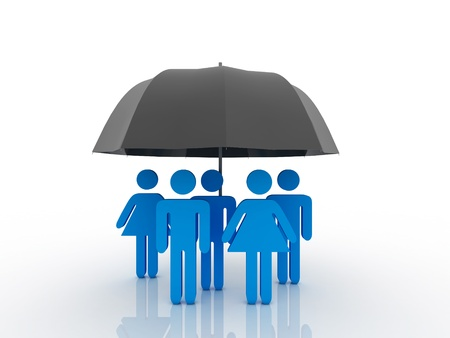 weather protection: 3d people - human character under an umbrella. 3d render illustration  Stock Photo