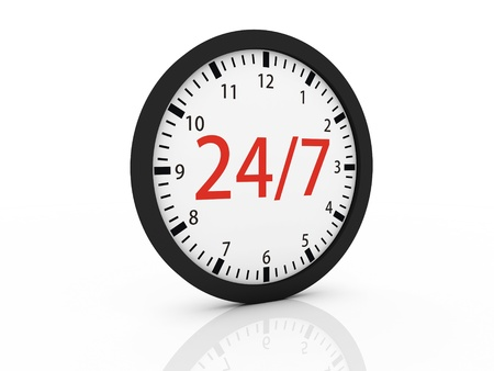 24 hour: one clock with the numbers 24 and 7 on center, concept of full availability (3d render)