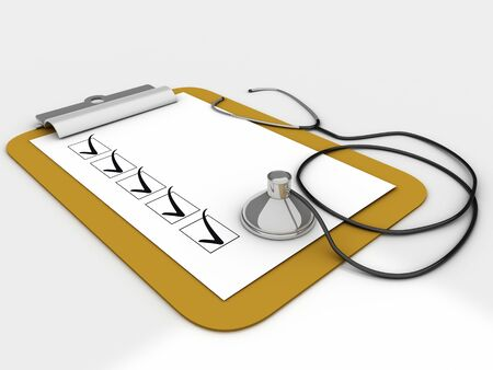 Medical clipboard with checklist paper for messages and a stethoscope photo