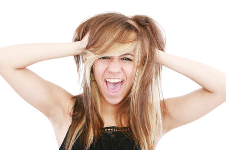bad hair day: Bad hair day for frustrated lady   Stock Photo