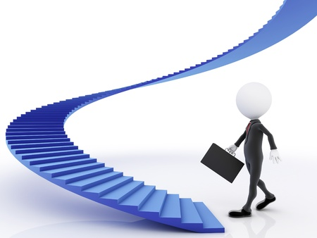 upstairs: 3D man going upstairs toward an open door