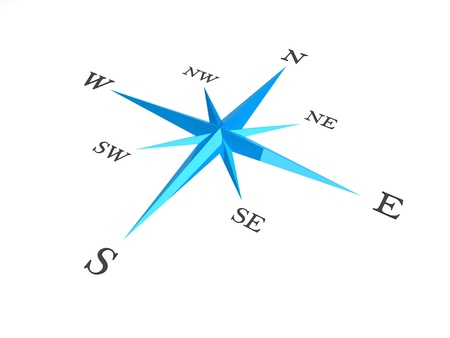 Illustration of a blue and white compass  illustration