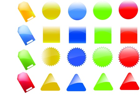 adding: Collection of brightly colored, glossy web elements. Perfect for adding your own text or icons. Blends used to create drop shadow effect.  Stock Photo