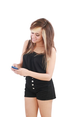 woman sending a text message on her mobile phone - isolated  Stock Photo - 12222345