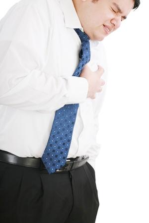 tightness: Man dressed in formal wear having a heart attack