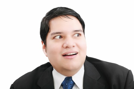 horrified: Shocked and scared businessman on a white background   Stock Photo