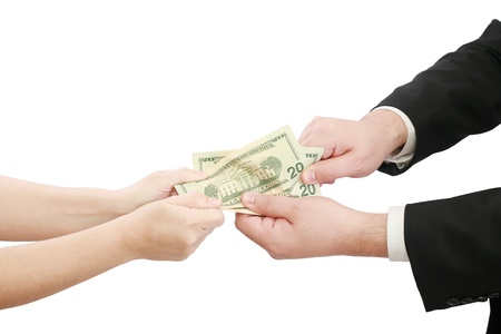 pulling money: business people fighting over some us money  Stock Photo