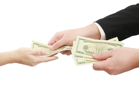 Hands giving money isolated on white background  photo