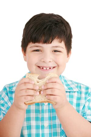 integral: Little boy eating a integral bread, sandwich  isolated on a white background  Stock Photo