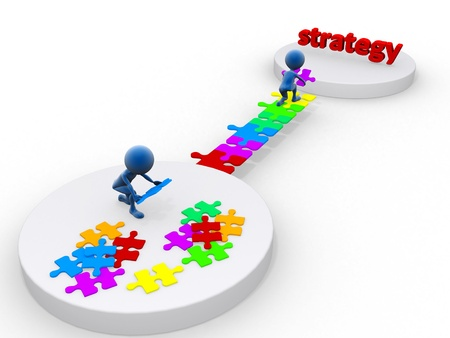 business team work building a puzzle  Business strategy concept  Isolated  photo