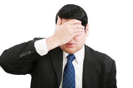 Stressed businessman, isolated on white   Stock Photo - 12566625