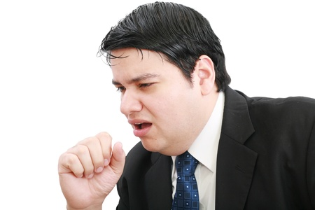 young ill businessman coughing isolated over white background