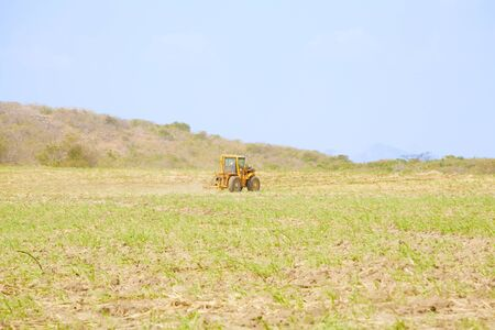 balk: Tractor plows a field preparing for the rice grow up in Panama Stock Photo