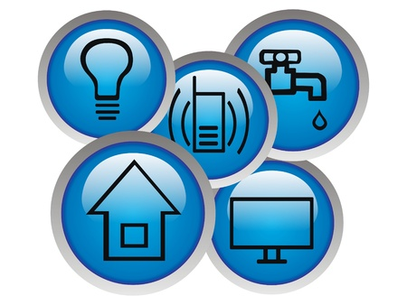 cable tv: Monthly basic debts icon   Icons of light, water, phone, house and cable TV for basic monthly bills Stock Photo
