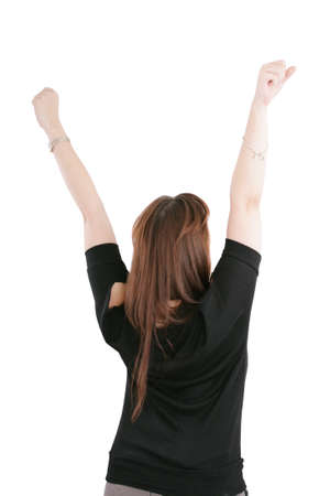 open air: Beautiful happy young woman with her arms in the air  Isolated on white