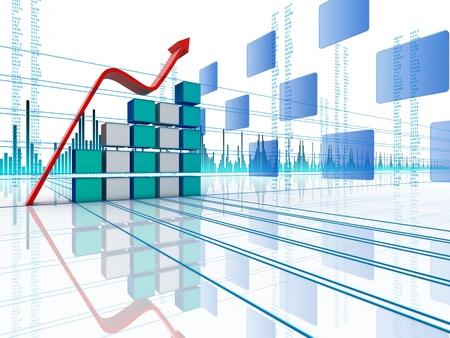 financial leadership: 3D arrow waving and upwarding