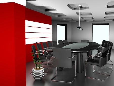 mobilier bureau: L'int�rieur moderne de bureau 3d image Banque d'images