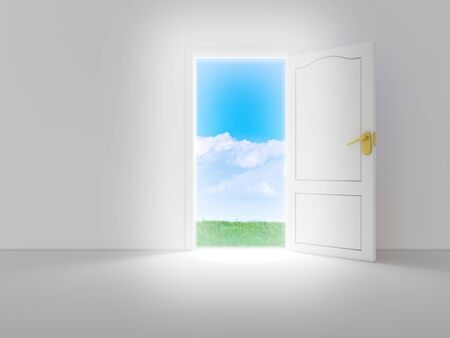 Empty white room with opened door and beautiful view, 3d render photo