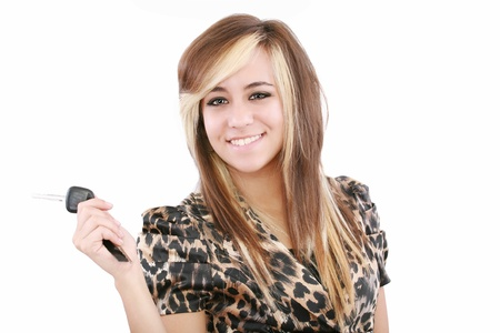picture of happy teenage girl with car key  Stock Photo - 12886895