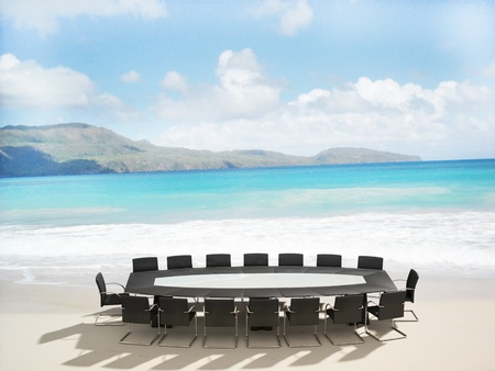 press conference: 3D rendering of a Meeting table and chairs in the water of a Caribbean beach