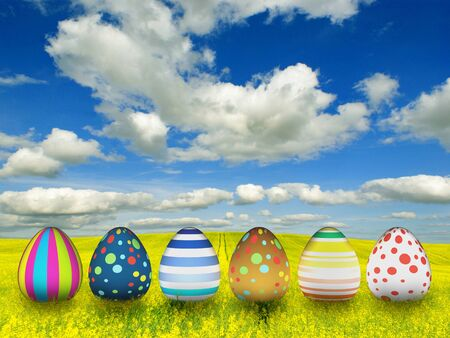 many color easter eggs over blue sky background  photo