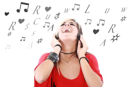 Rock style woman with headphones listening to music  photo