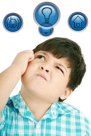 Little boy thinking isolated on white background Stock Photo - 12981247
