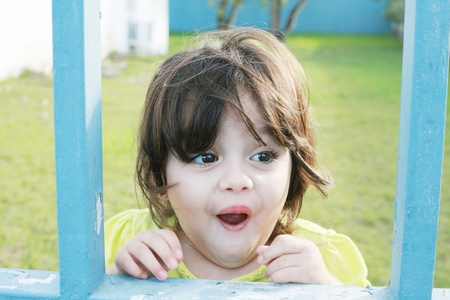 happy smiling little girl excited photo