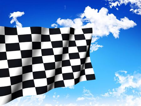 Checkered Flag over a sky background photo