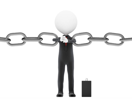 Link. Businessman restrains break the chain on white background  photo