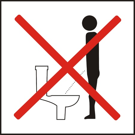 Incorrect position of urinating 3d public sign icon  photo
