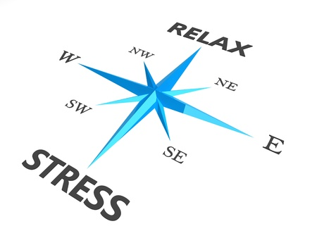 work stress: relax stress and relax words on compass conceptual image