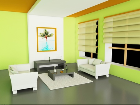 3d Illustration of modern interior of living-room. illustration
