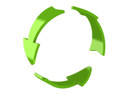 in the loop: 3d render of recycle arrows
